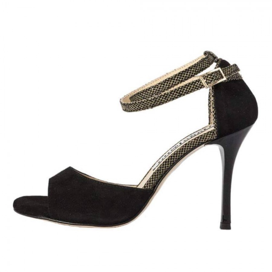 Beso Double Strap Black Suede and Gold Mesh Leather