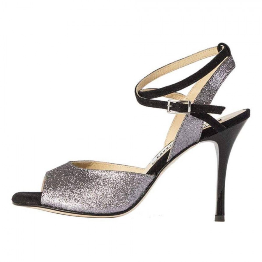 Rosa Double Strap Pewter Glitter and Black Suede