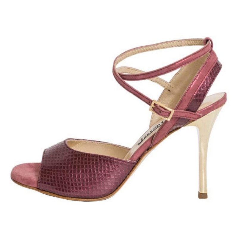 Nina Double Strap Cranberry and Blush Leather