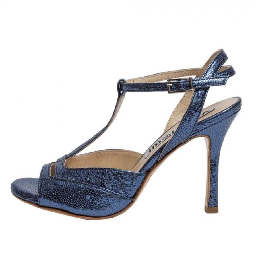 Alma Blue Bullet Metallic Leather