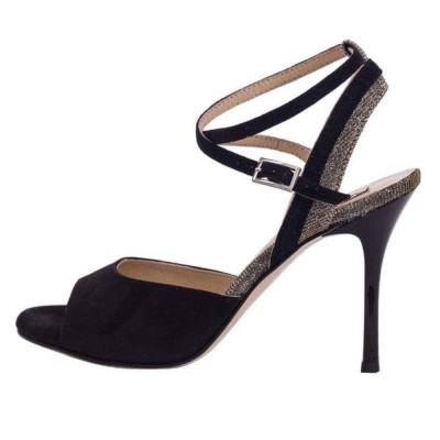 Nina Black Suede and Platinum Lurex Combination