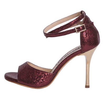 Beso Double Strap Bordeaux Bullet Metallic Leather