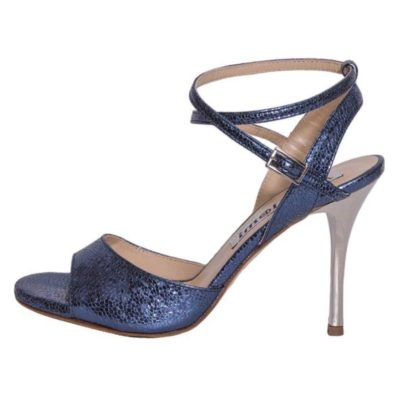 Maia Double Strap Blue Bullet Metallic Leather