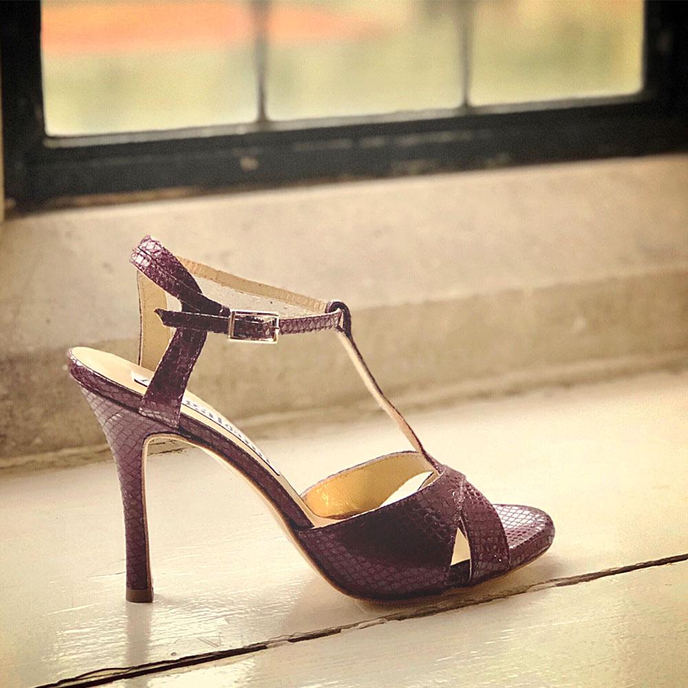 Balanceo Maleva Ladies Heels in Maroon Snakeskin Leather