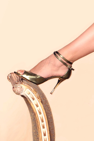 Balanceo Handmade Italian Leather Gold Party Sandals