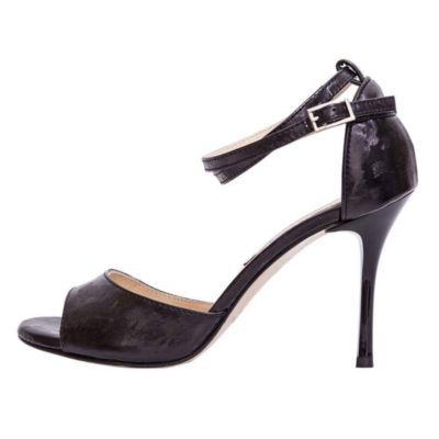 Beso Double Strap Astrakhan Black Leather