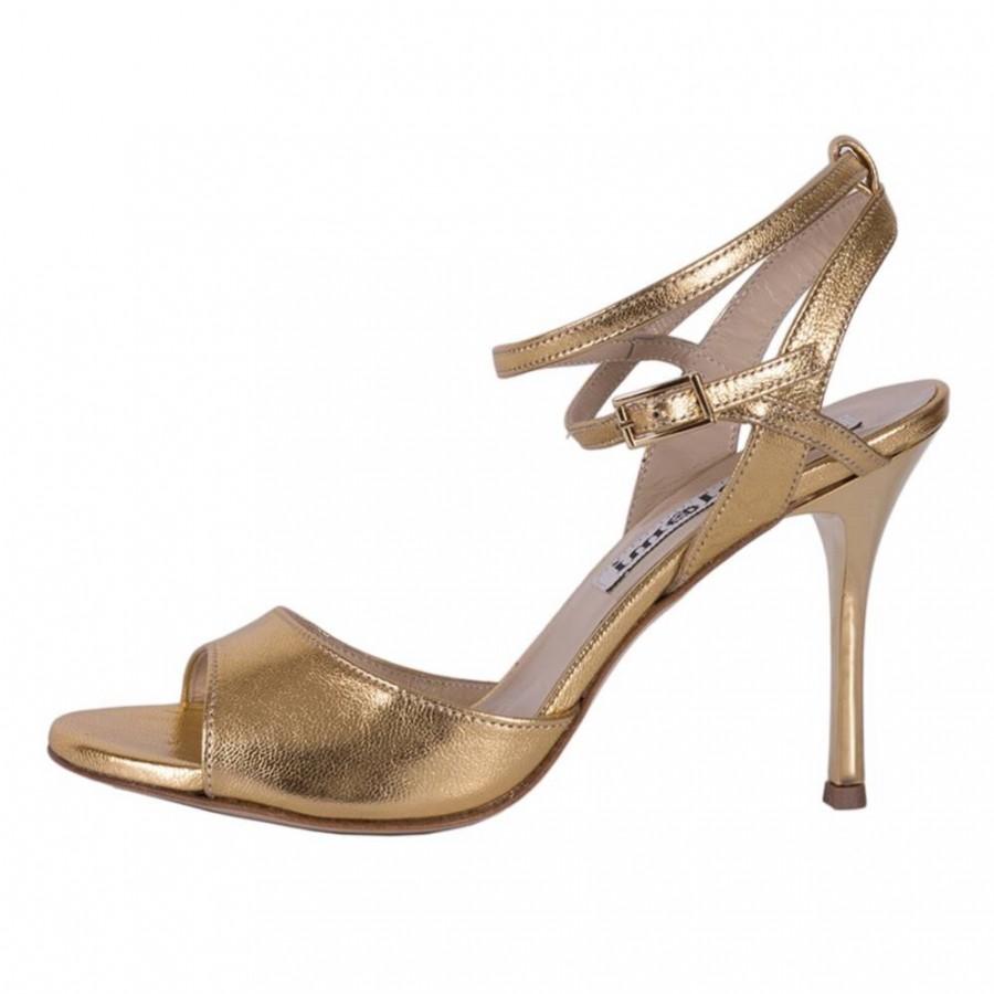 Maia Double Strap Gold Metallic Leather