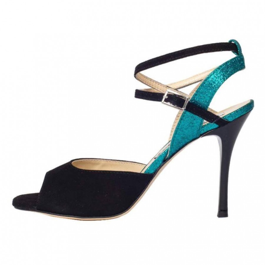 Rosa Double Strap Black Suede and Cayman Green Glitter