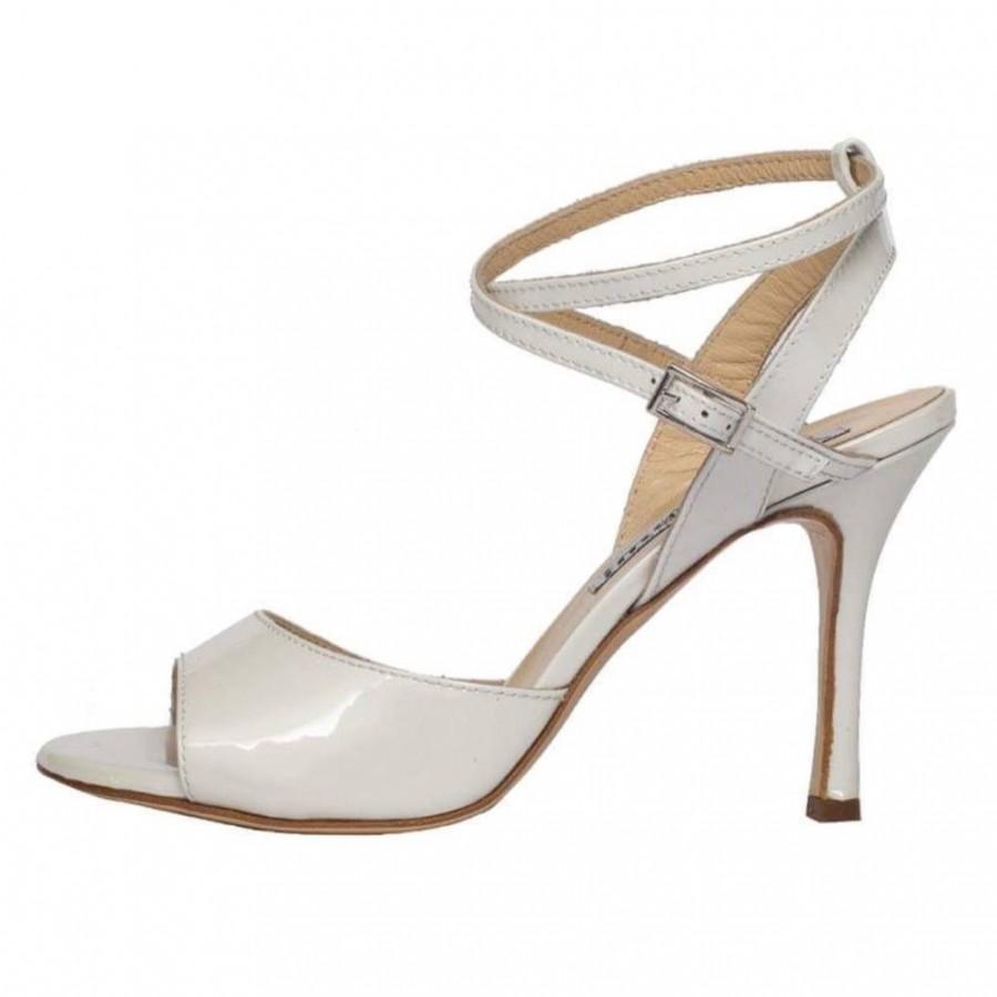 Maia Double Strap Bone White Patent Leather