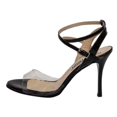Maia Double Strap PVC and Black Leather Combination