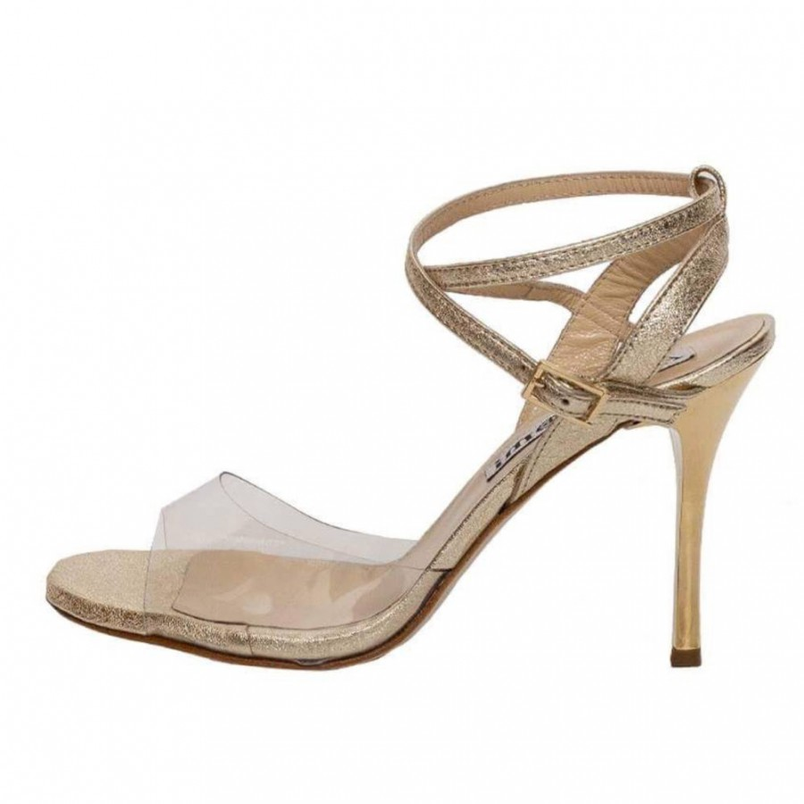 Maia Double Strap PVC and Gold Metallic  Leather Combination