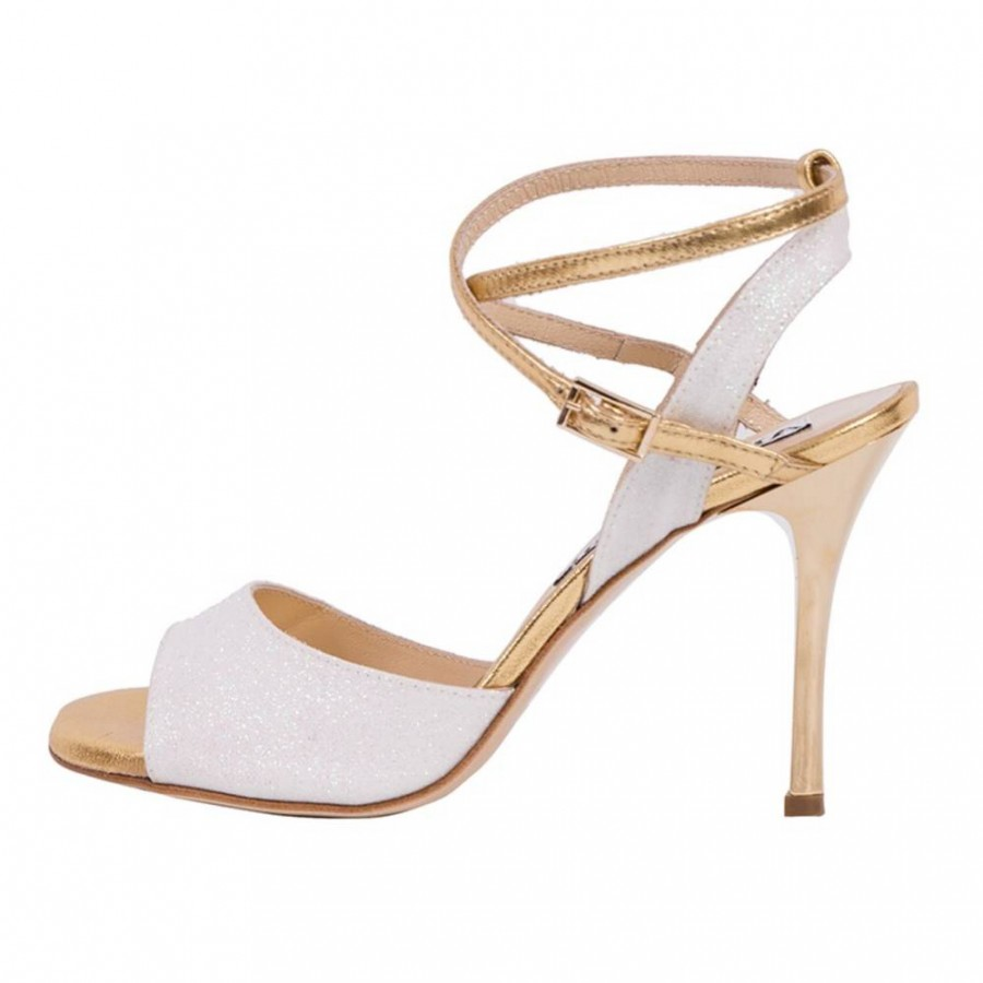 Maia Double Strap White Glitter and Gold Leather