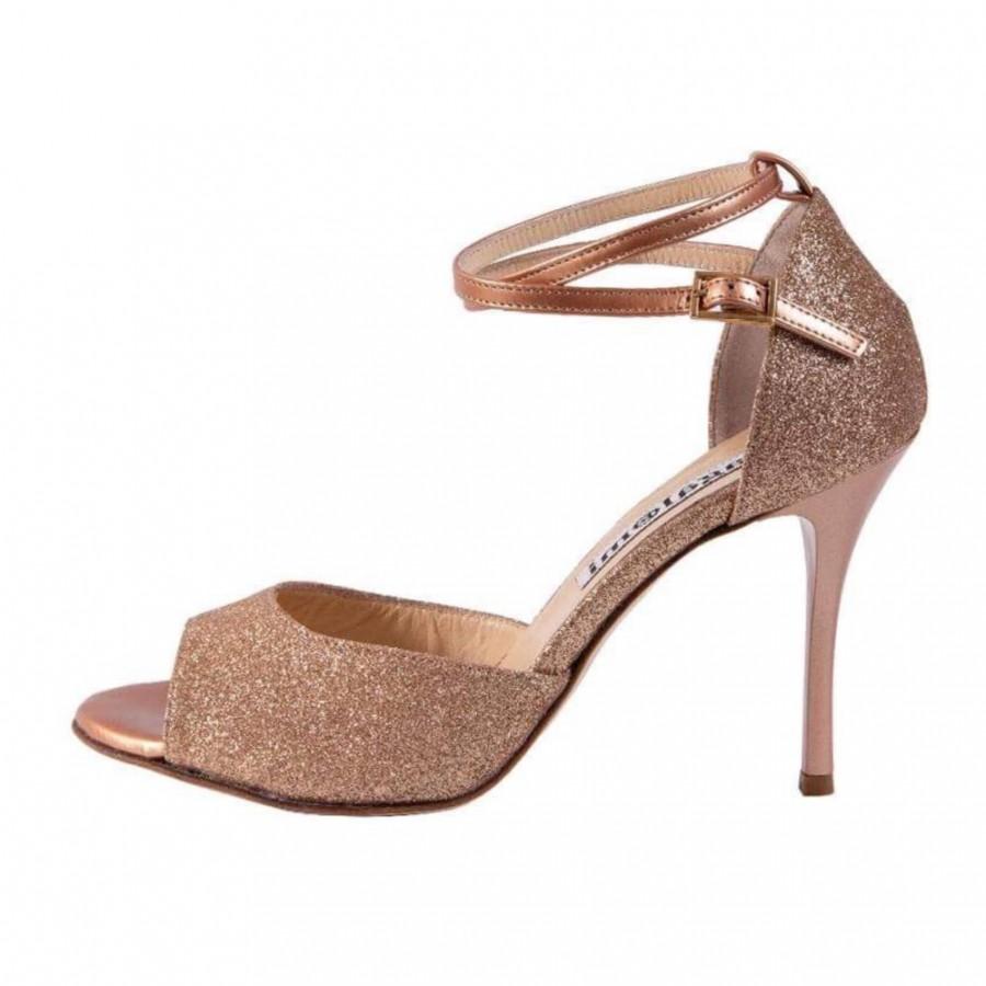 Isabel Double Strap Rose Gold Glitter