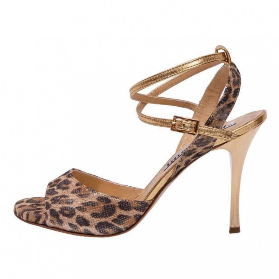 Maia Double Strap Leo and Gold Soft Leather