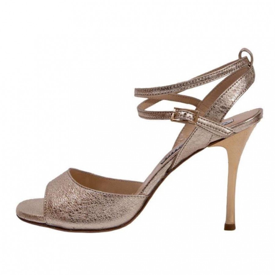 Maia Double Strap in Crac Platinum Leather