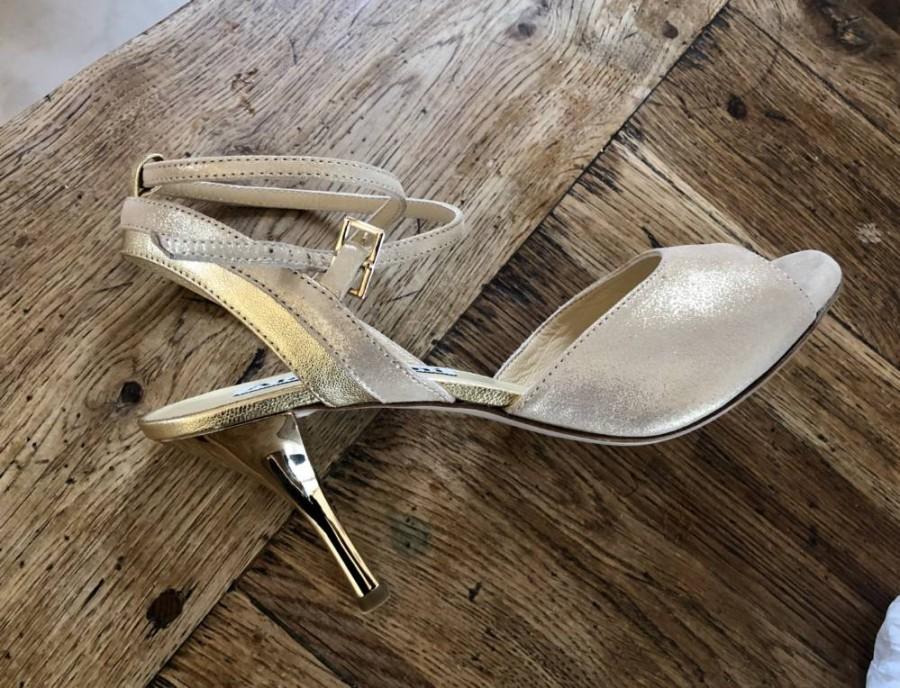 Nina Golden Beige Glossy Leather