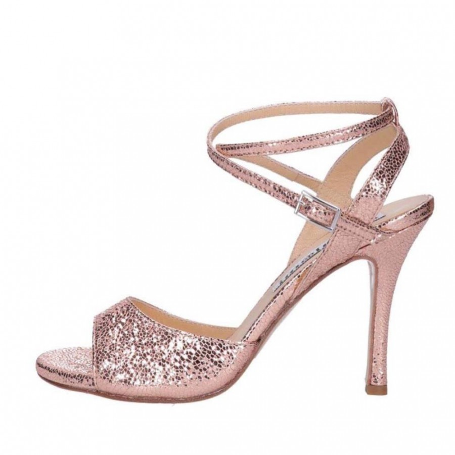 Maia Double Strap Rose Gold Allure Metallic Leather