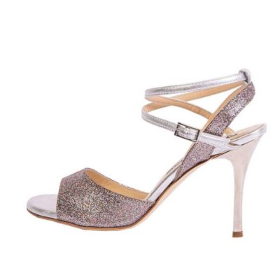 Maia Double Strap Rainbow Glitter and silver metallic Leather