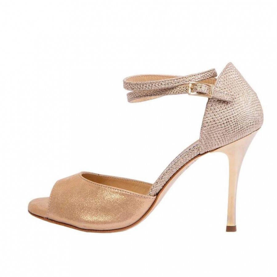 Isabel Double Strap in Gold Beige and Gold Goa Combination Leather