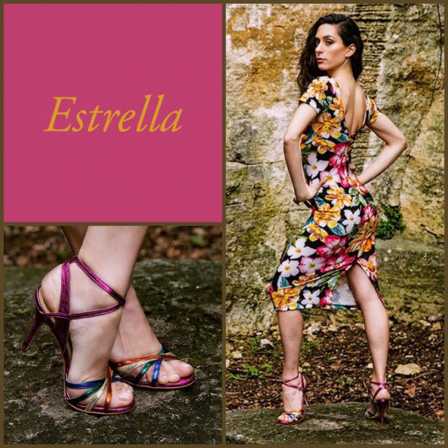 Estrella Double Strap Rainbow Leathers