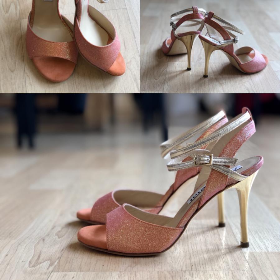 Maia Double Strap Mandarin Glitter and Leather