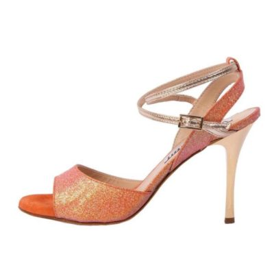 Maia Double Strap Mandarin Glitter and Leather