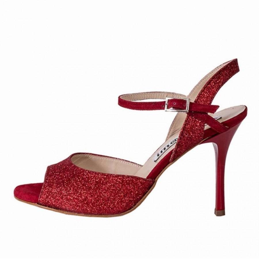 Rosa Single Strap Red Glitter