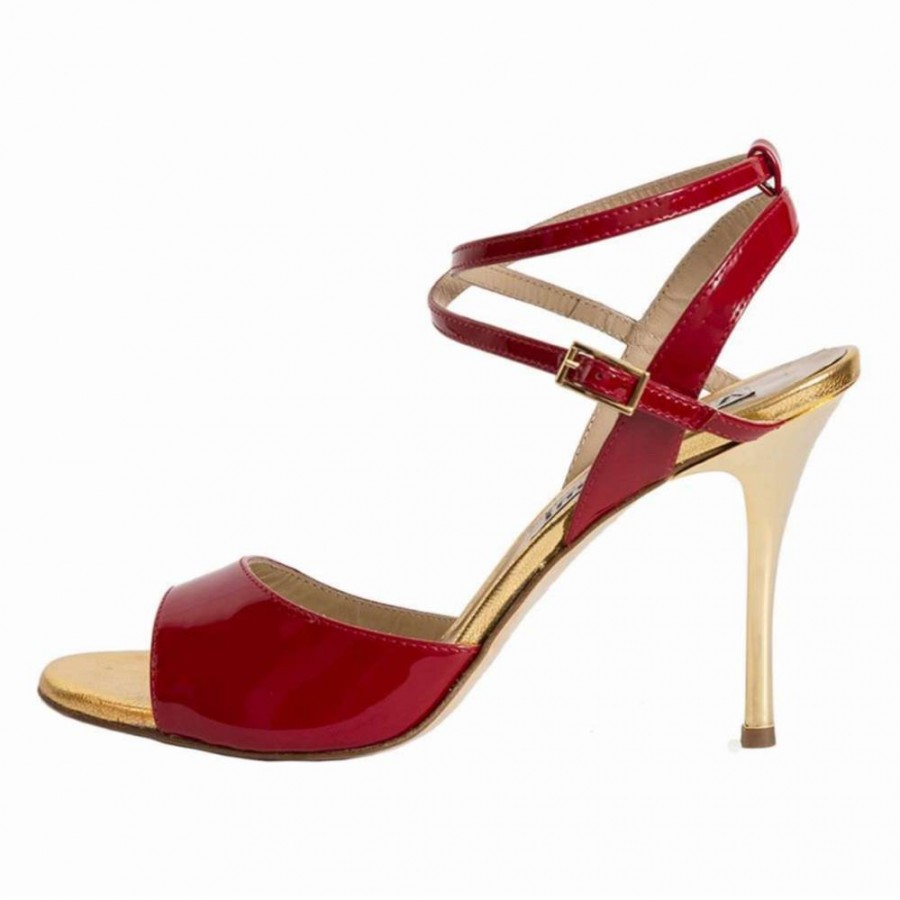 Maia Double Strap Red Patent and Gold Metallic