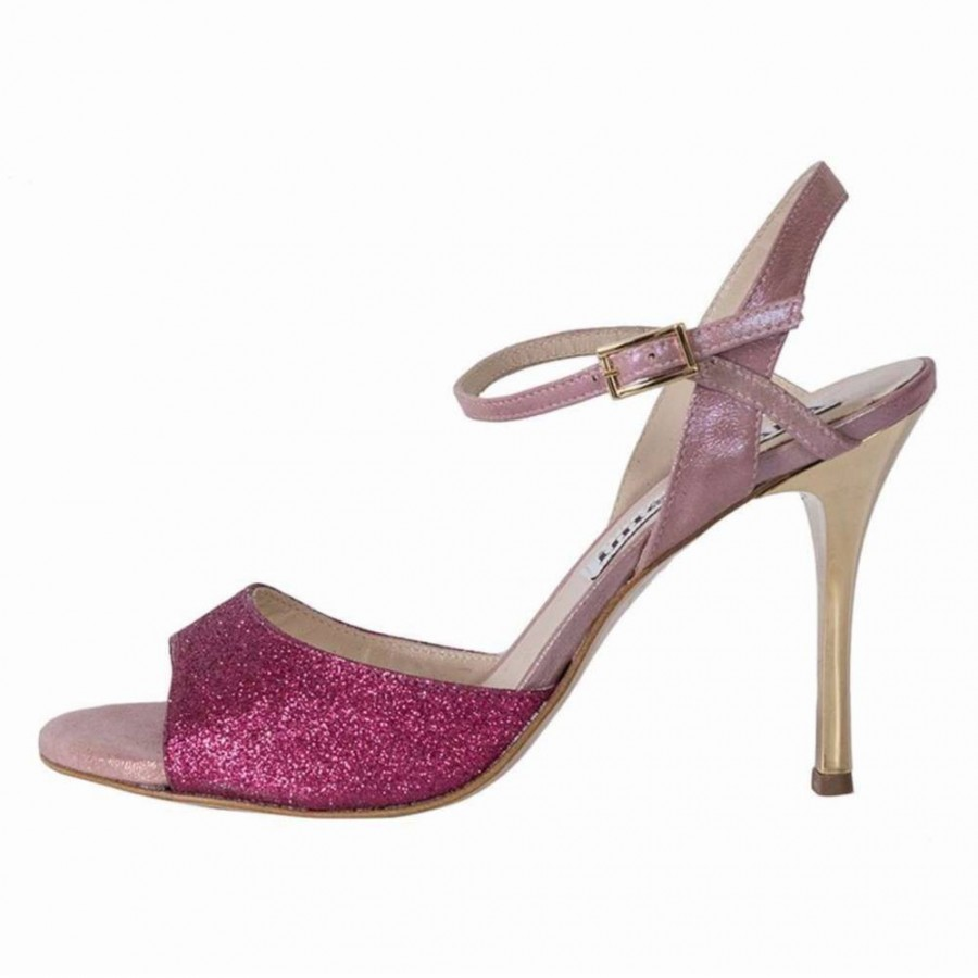 Maia ingle Strap Raspberry Glitter and Dusky Pink