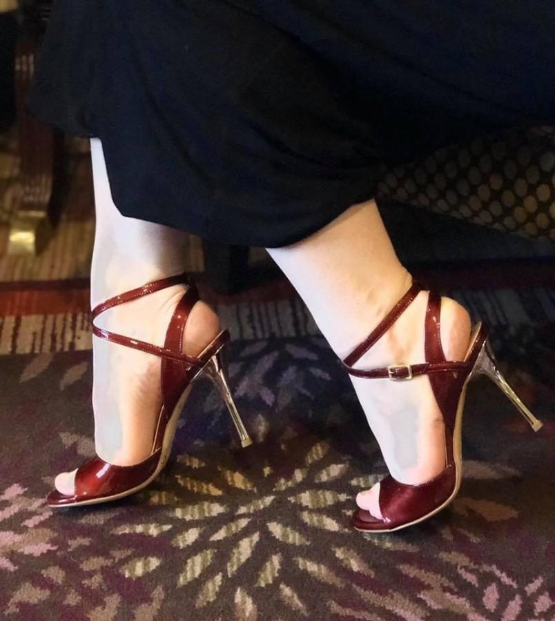 Maia Double Strap Patent Bordeaux Leather