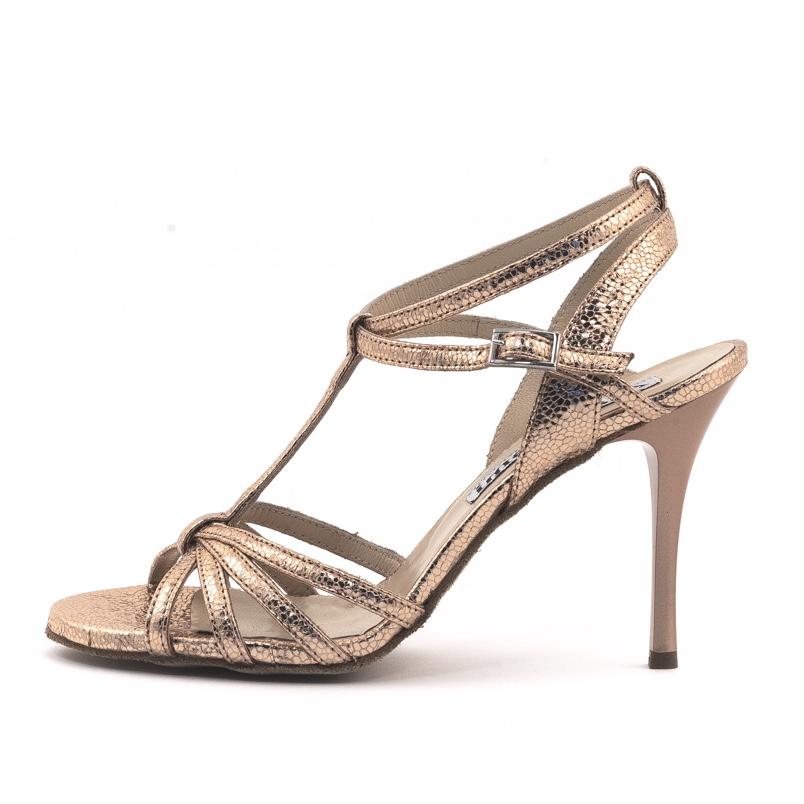 Estrella Double Strap Gold Allure Metallic Leather