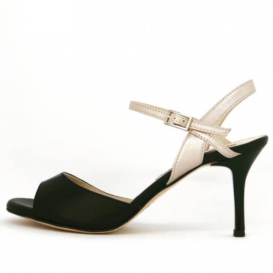 Maia Single Strap Black and Osterica Low heels