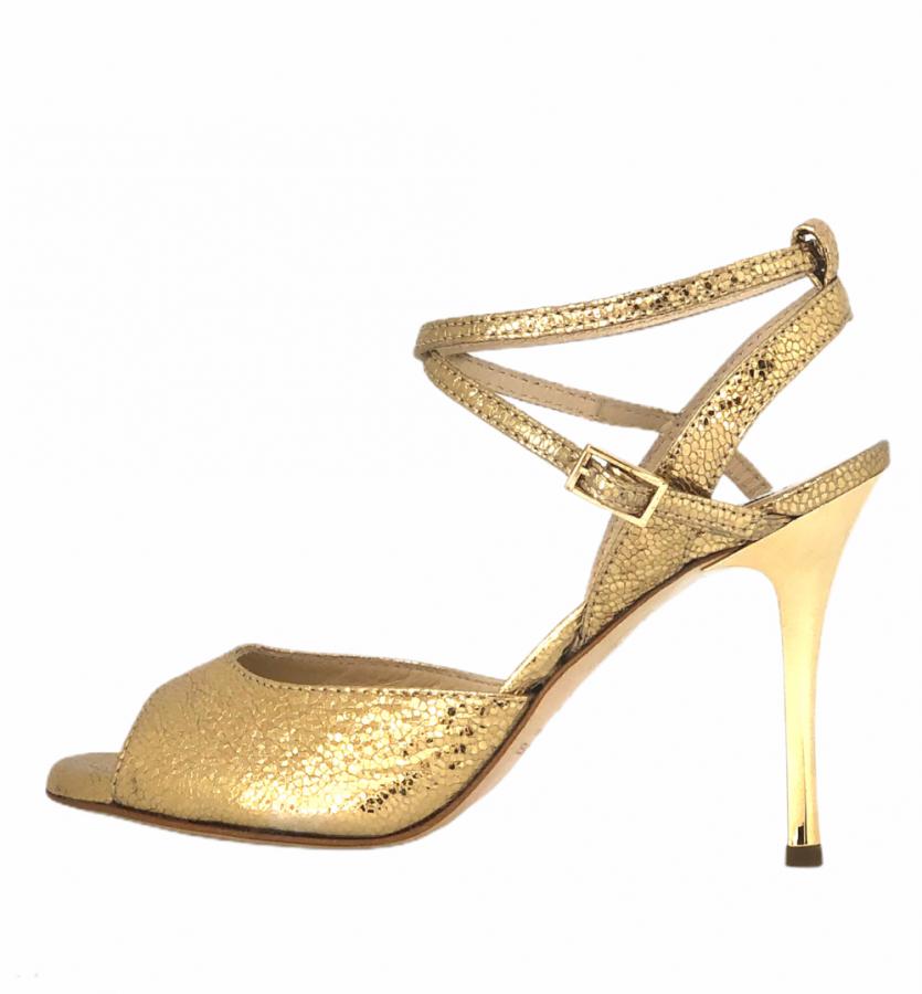 Rosa Double Strap Gold Allure Metallic Leather