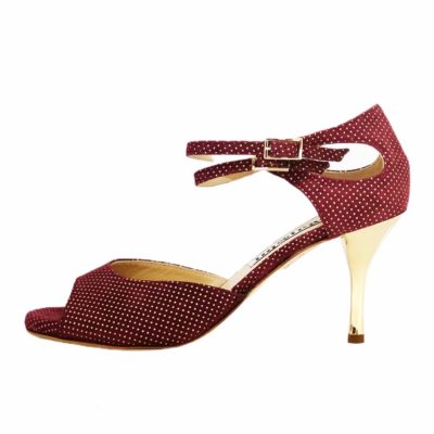 Soho ( I upper)  in Bordeaux and gold dots soft leather