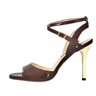 Maia Double Strap Patent Bordeaux Leather