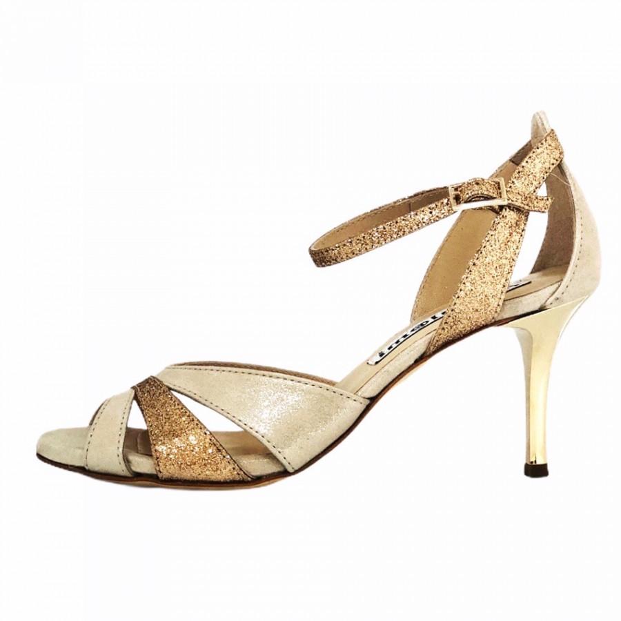 Sunderland Glossy Beige and Rose Gold Glitter