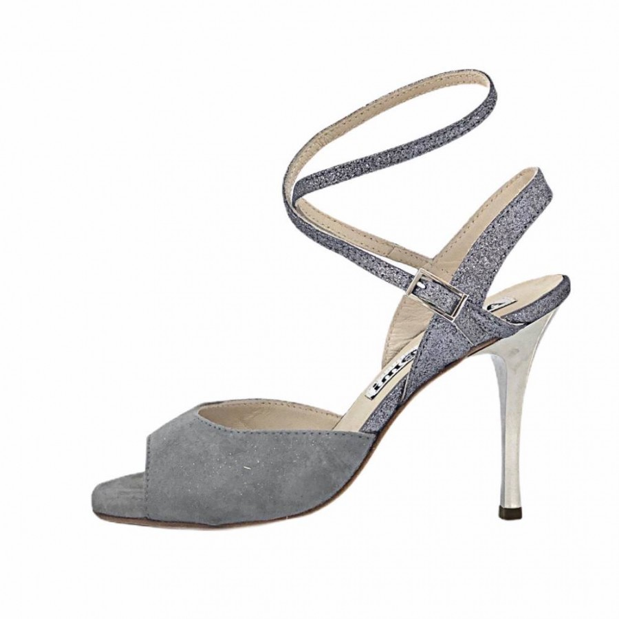 Rosa Double Strap Dove Grey and Pewter Glitter