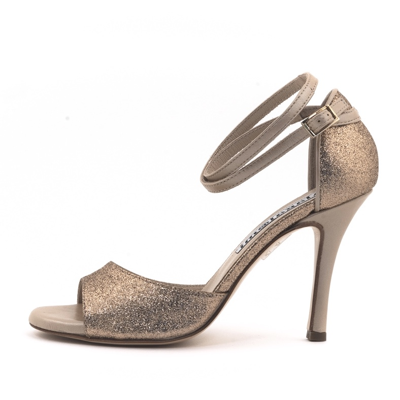Beso Double Strap Rose Gold Glitter Coated Heels