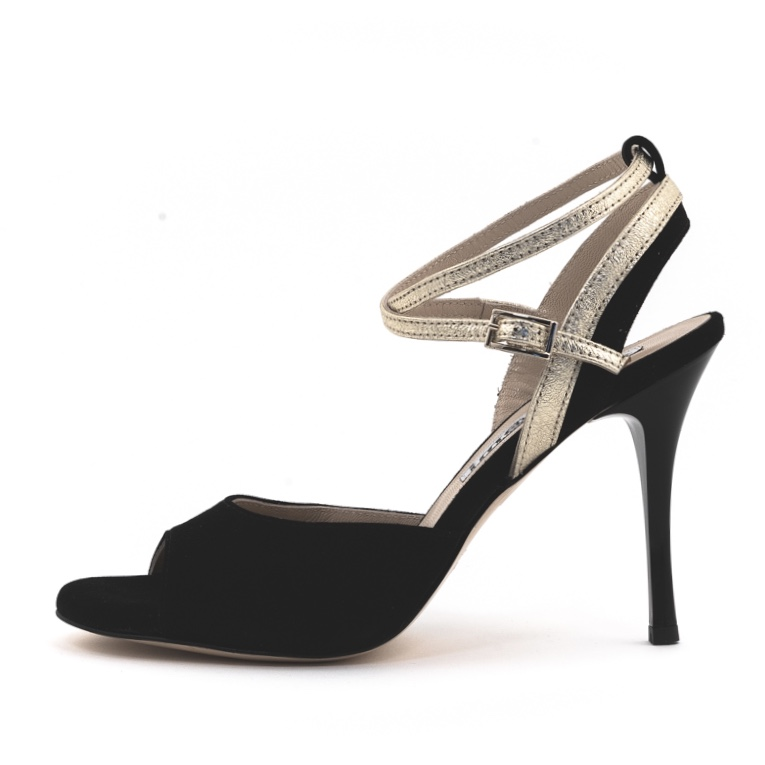 Nina Double Strap GBlack Suede and Platinum Metallic Leather