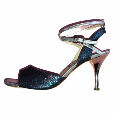 Maia Double Strap Multi Colour Blue Glitter and Silver Metallic