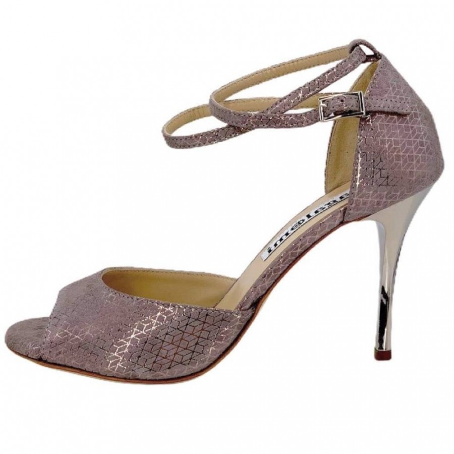 Isabel Double Strap Mink & Silver  Soft Leather