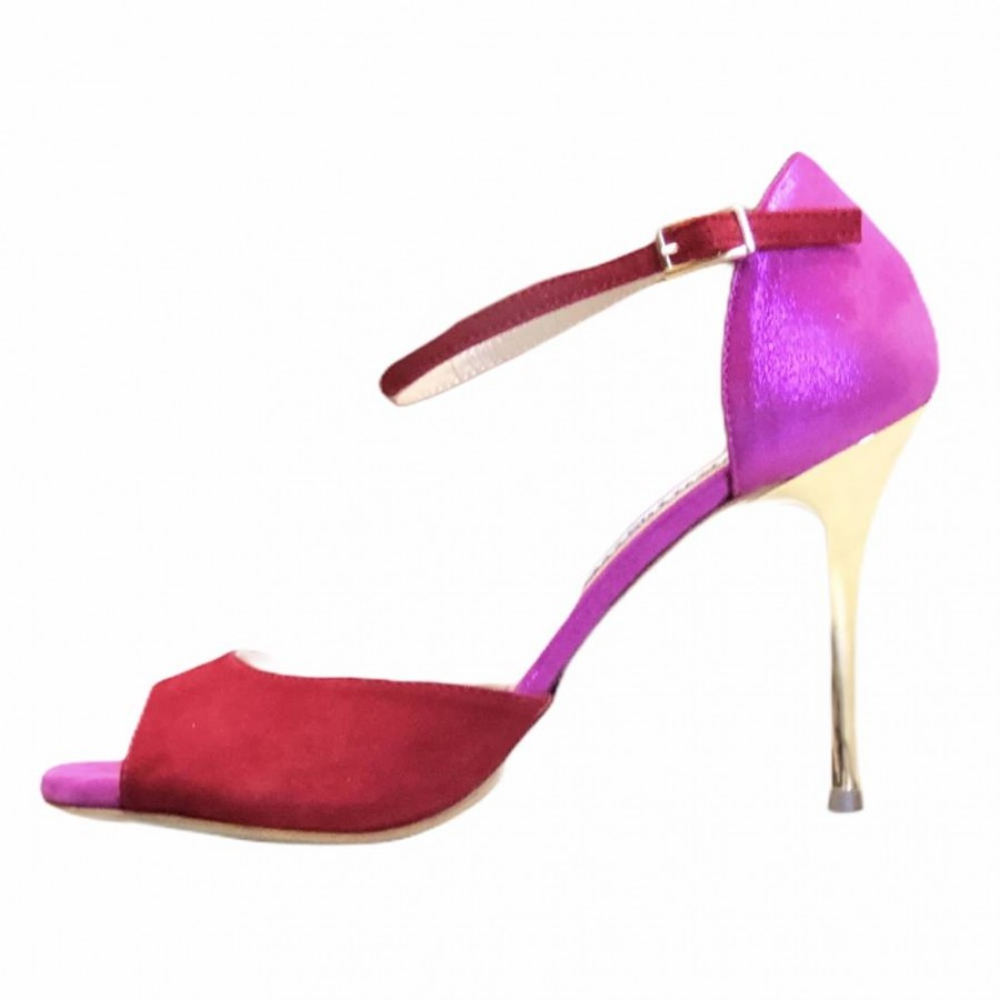 Isabel Single Strap Glossy Fuxia and Red Soft Leather