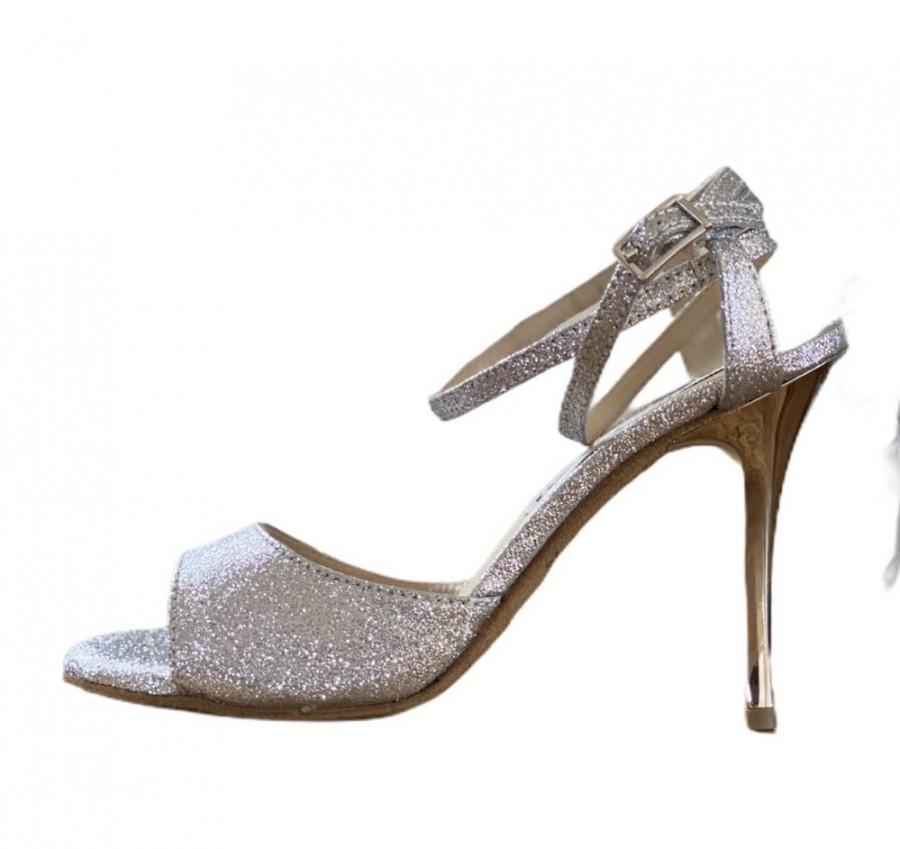 La Maquina Double Strap Silver Glitter