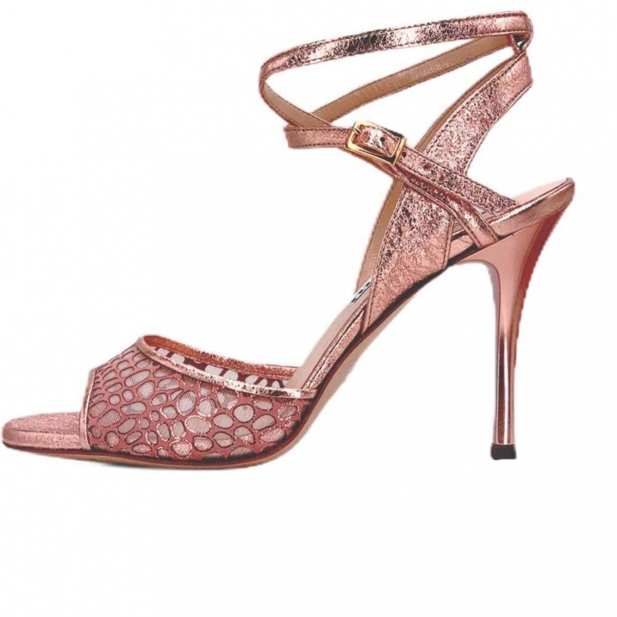 Maia DS Rose Gold and Honeycomb Net with Rose Gold Slim Heels