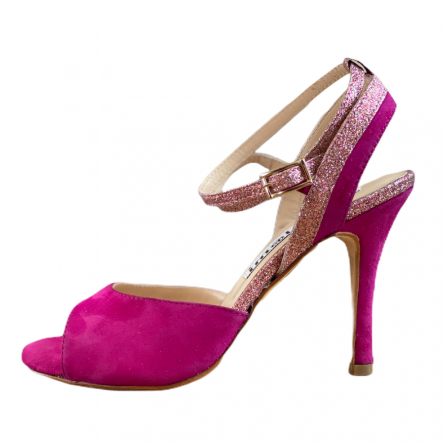 Nina Double Strap in Suede Fuxia and Rainbow Glitter