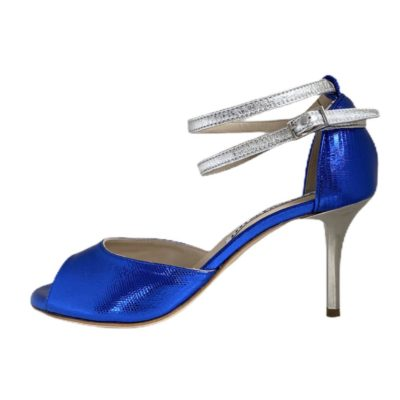 Lily Double Strap Black Blue and Silver Metallic Leather