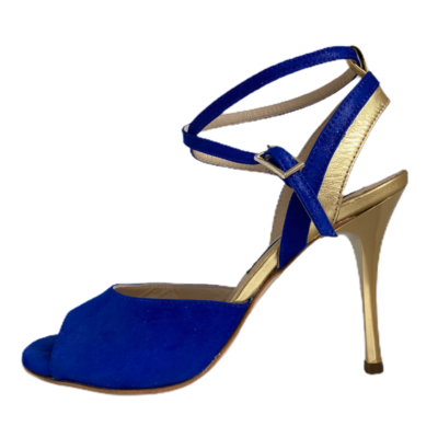 Nina Double Strap  Persian Blue and Gold Metallic