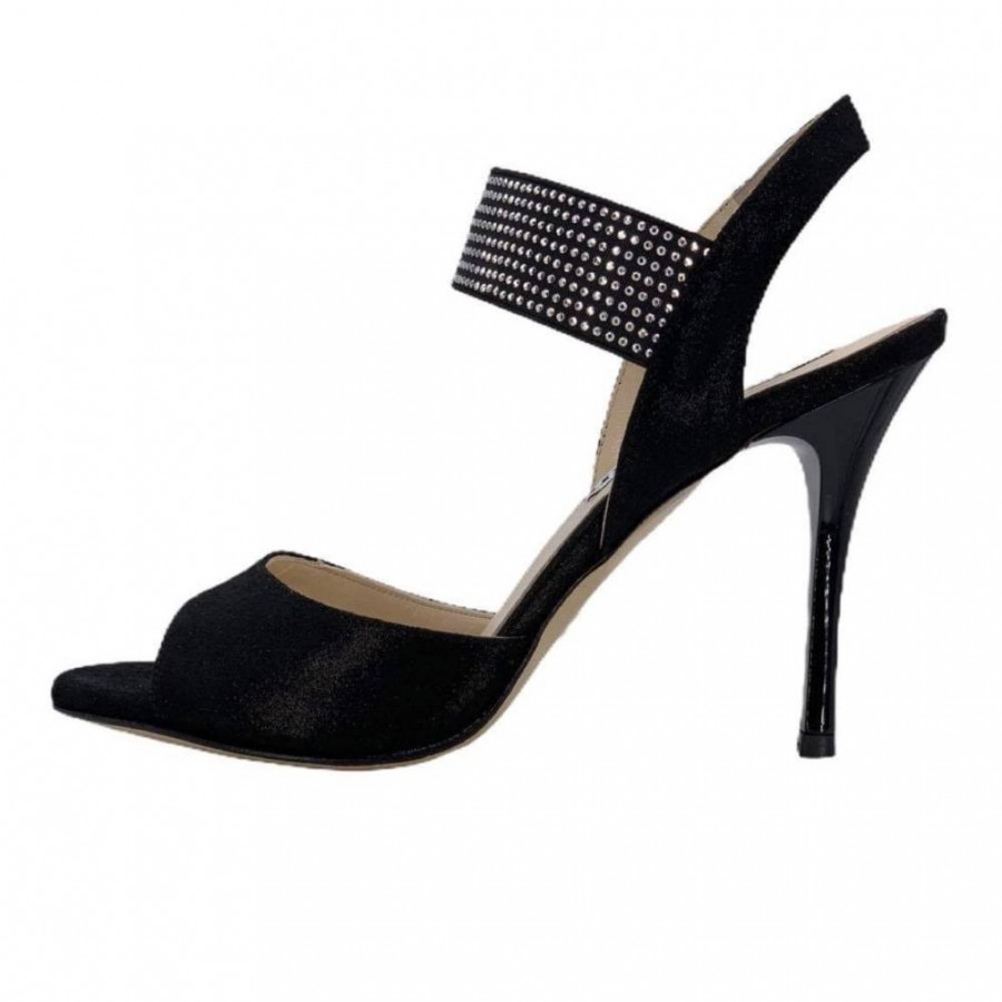 Becky Glossy Black and Elastic Studs