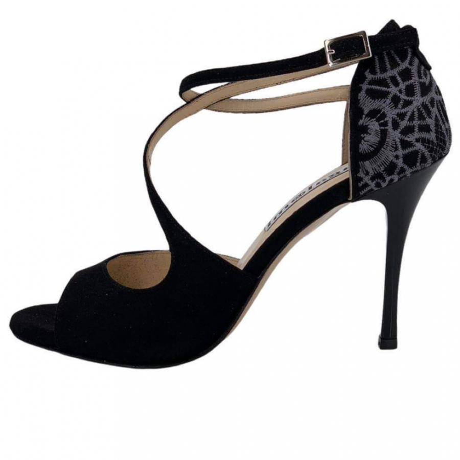 Venus Black suede  and Embroidery