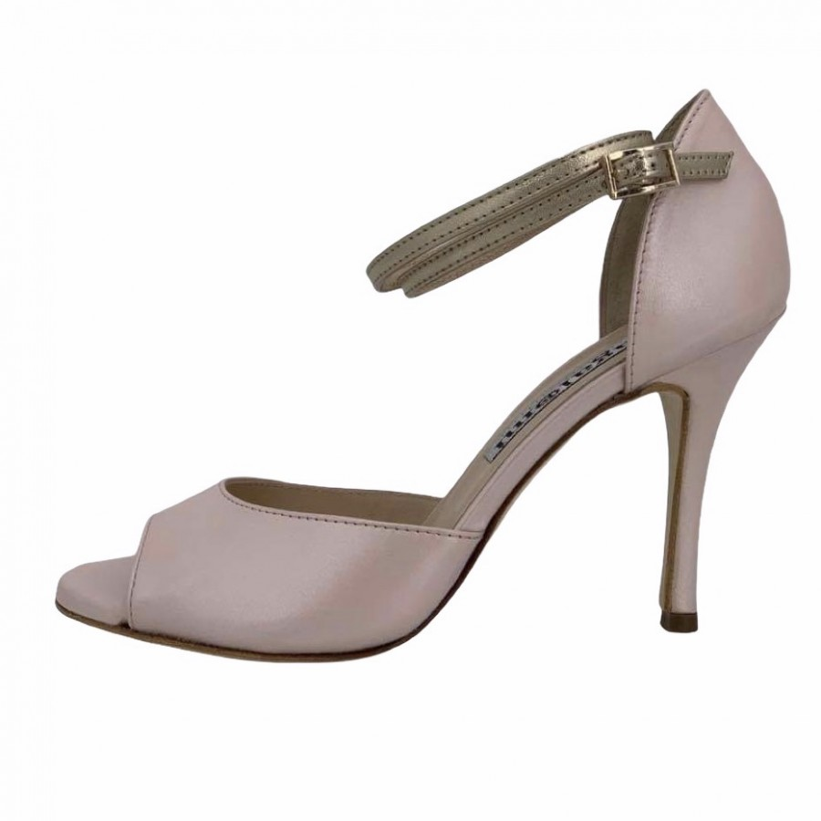 Isabel Double Strap Pearl Nappa and Platinum Metallic Leather